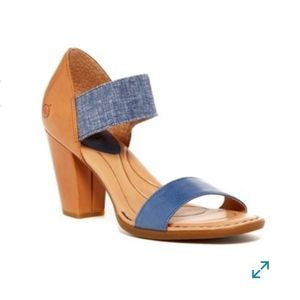 Born Leather Khate Heeled Sandals in Navy